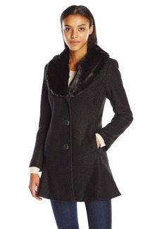Kensie Women's Notch Collar Boiled Wool Skirted Coat with Fully Removable Faux Fur Collar  L