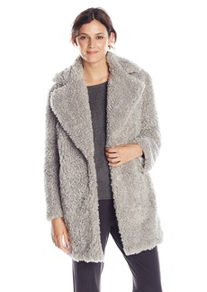 Kensie Women's Notch Collar Faux Fur Coat