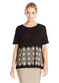 Kensie Women's Open Floral Lace Short Sleeve Top