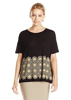 Kensie Women's Open Floral Lace Short Sleeve Top