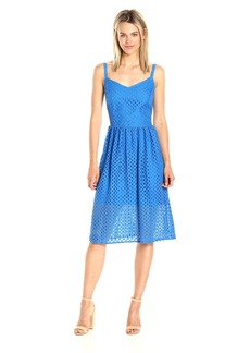 Kensie Women's Open Mesh Lace Fit and Flare Midi Dress  S