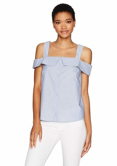 kensie Women's Oxford Shirting Cold Shoulder Top  M