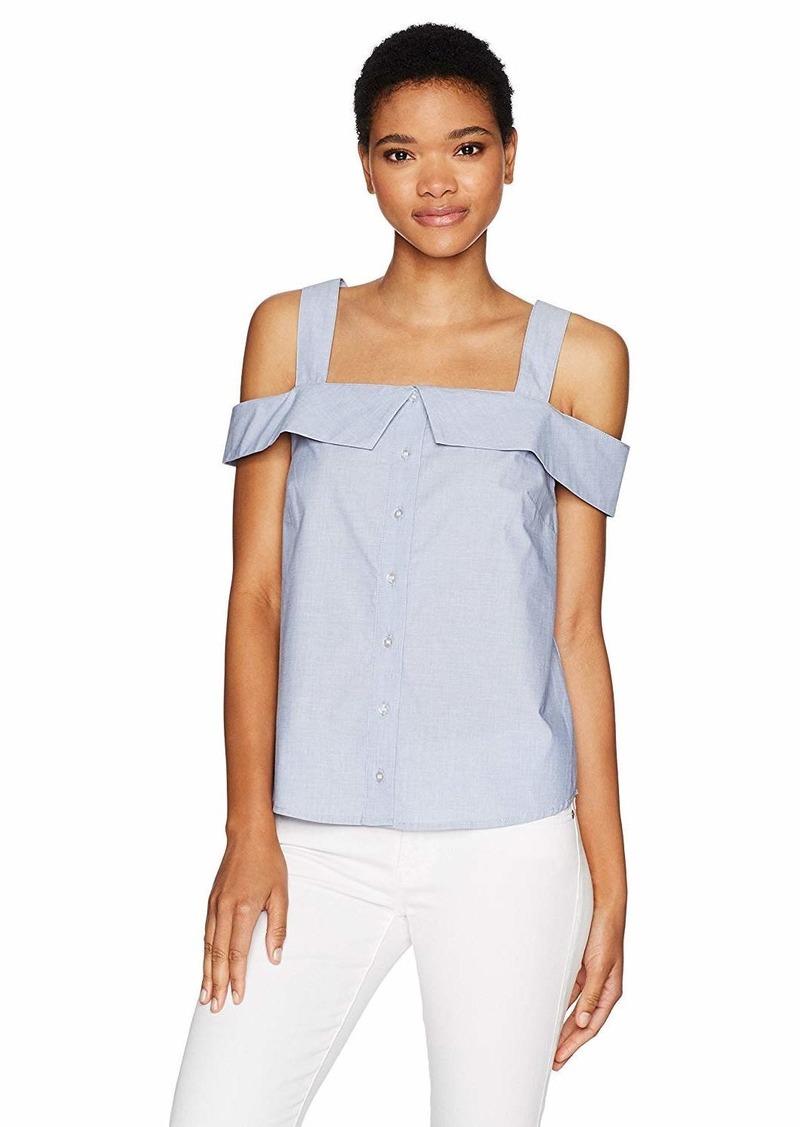 kensie Women's Oxford Shirting Cold Shoulder Top  M