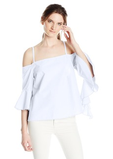 kensie Women's Oxford Shirting Cold Shoulder Top  S