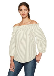 kensie Women's Oxford Shirting Off Shoulder Top  S
