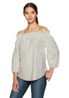 kensie Women's Oxford Shirting Off Shoulder Top tusk Combo M