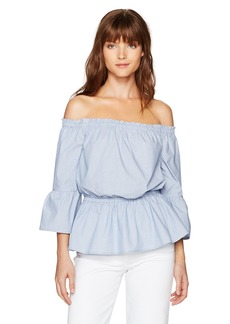 kensie Women's Oxford Shirting Off The Shoulder Top  M