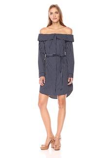 Kensie Women's Oxford Shirting Stripe Off Shoulder Dress  M