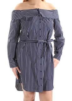 kensie Women's Oxford Shirting Stripe Off Shoulder Dress  XS