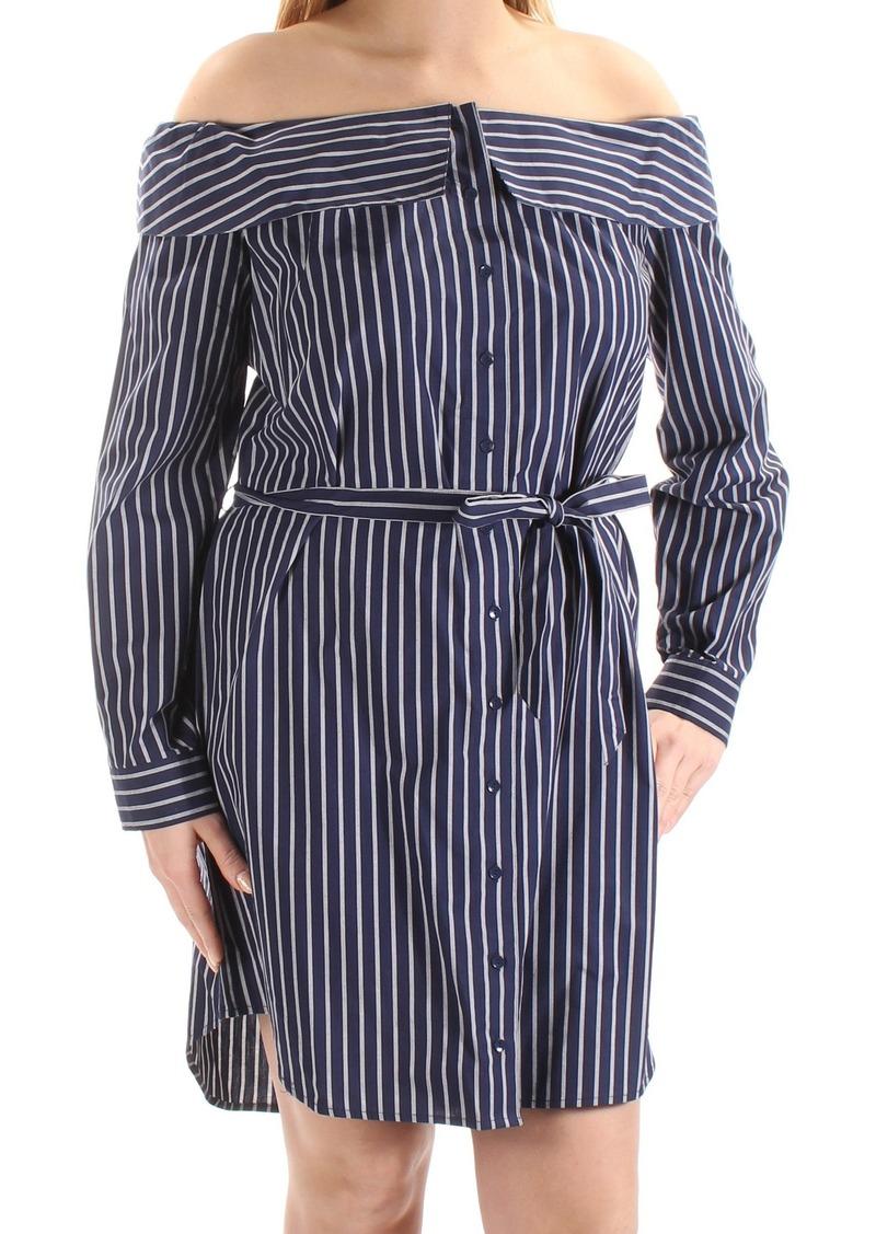 kensie Women's Oxford Shirting Stripe Off Shoulder Dress  XS