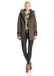 kensie Women's Parka Jacket with Faux-Fur Trim