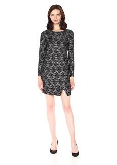 Kensie Women's Patterned Long Sleeve Ponte Dress  L