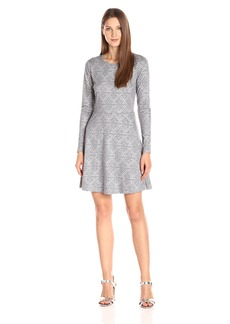 Kensie Women's Patterned Ponte Long Sleeve Dress  L