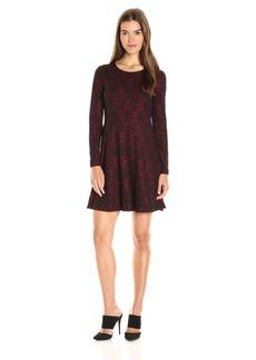 Kensie Women's Patterned Ponte Long Sleeve Dress  S