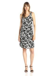 Kensie Women's Pin Dot Animal Print Tank Dress