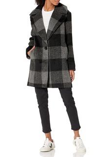 kensie Women's Plaid Cocoon Wool Coat