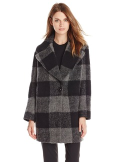 Kensie Women's Plaid Cocoon Wool Coat