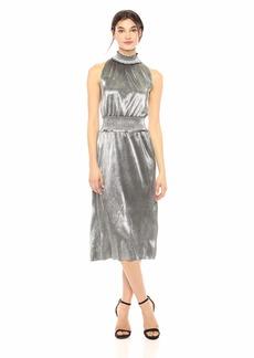 kensie Women's Pleated Shine Midi Dress  L