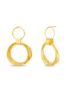 Kensie Women's Polished Layered Open Circle Drop Post Earrings