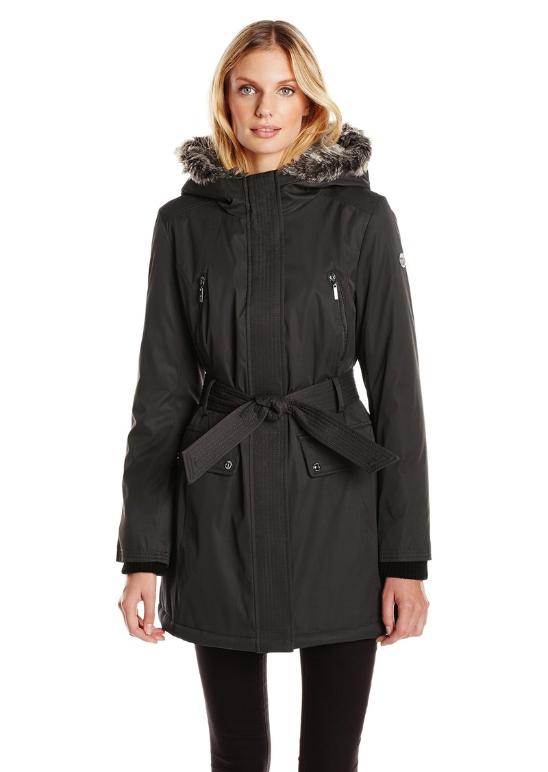 kensie Women's Polyester Fill Belted Parka