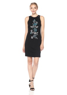 Kensie Women's Ponte Dress with Embroidery Floral Detail  S