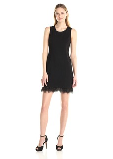 Kensie Women's Ponte Dress with Feather Hem