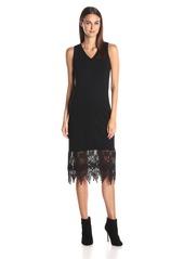 kensie Women's Ponte Midi Dress with Lace Hem