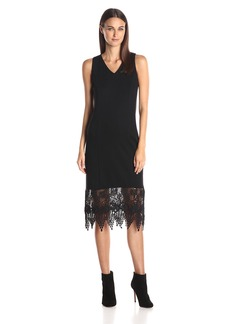 Kensie Women's Ponte Midi Dress with Lace Hem