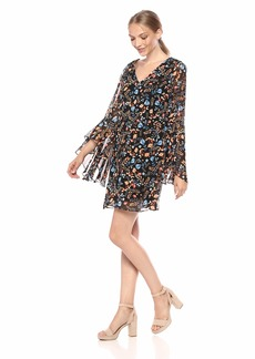 kensie Women's Printed Chiffon Dress with Back Detail