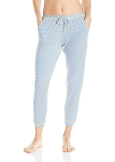 kensie Women's Printed Stripe Cropped Jogger Pant  L