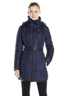 kensie Women's Quilted Belted Down Coat