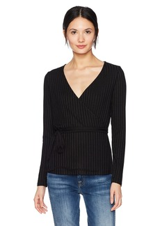 kensie Women's Rayon Rib Long Sleeve Wrap Top  S