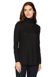 kensie Women's Rayon Rib Top with Cowl Neck  XL