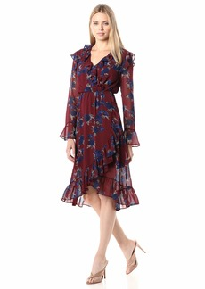 kensie Women's Rhythm and Blues Floral Dress