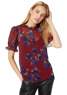 kensie Women's Rhythm and Blues Floral Top