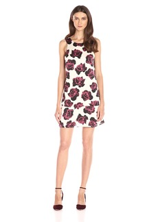 kensie Women's Romantic Roses Printed Trapeze Dress