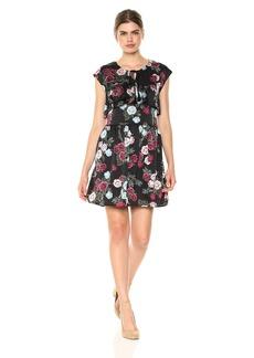 Kensie Women's Rose Bouquets Floral Print Dress  XL