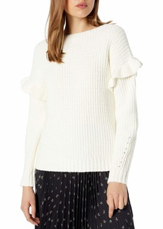 kensie Women's Ruffle Detail Sweater  Extra Small