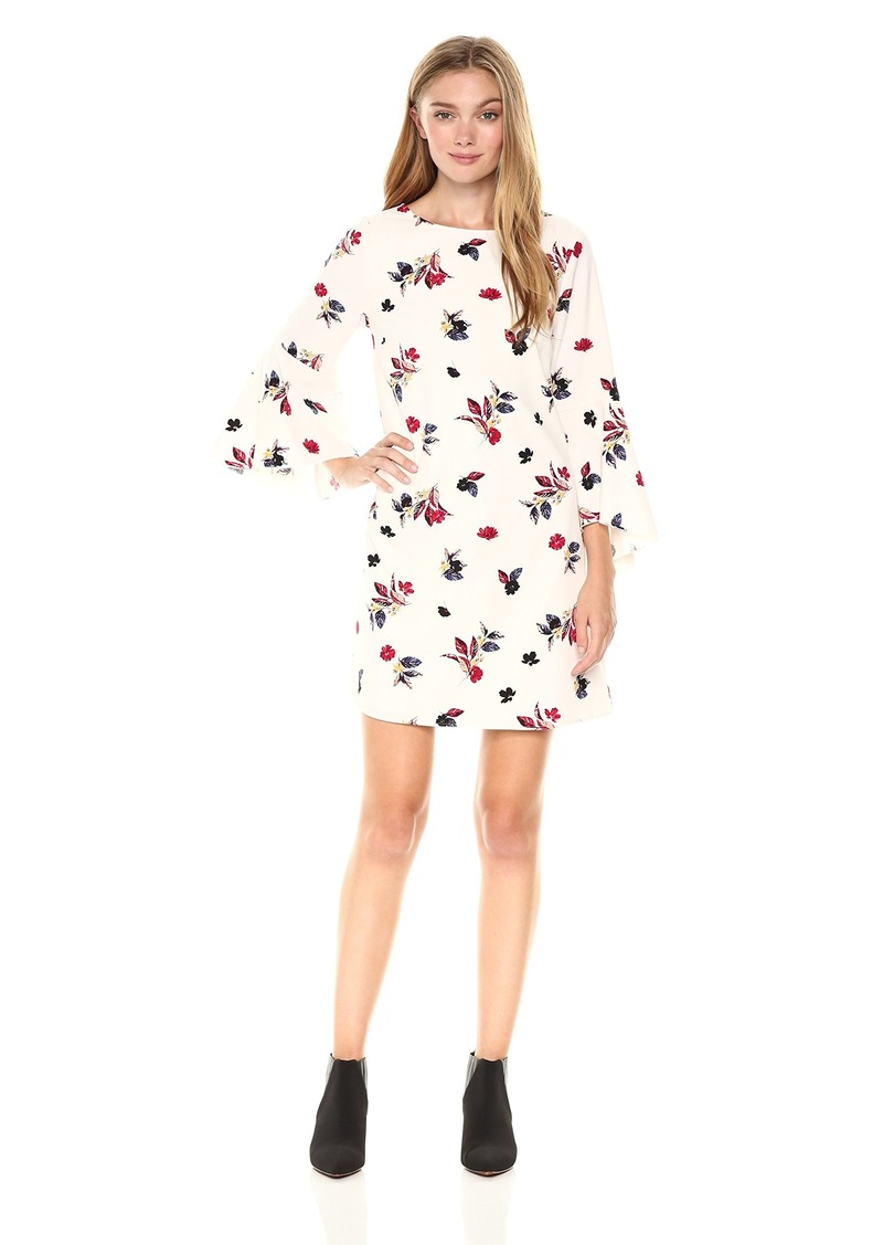 kensie Women's Scattered Bouquets Floral Print Bell Sleeve Dress tusk Combo S