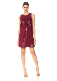 kensie Women's Sequin Sleeveless Ruffle Dress  L