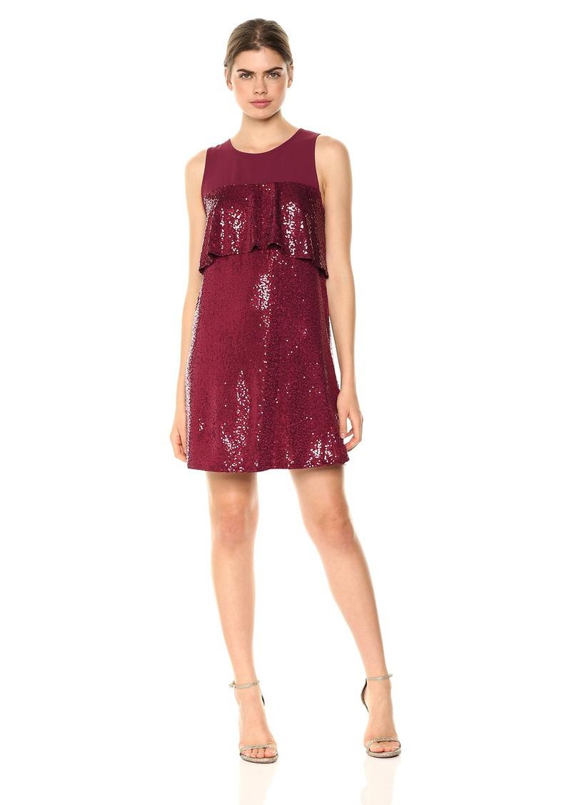 kensie Women's Sequin Sleeveless Ruffle Dress  L