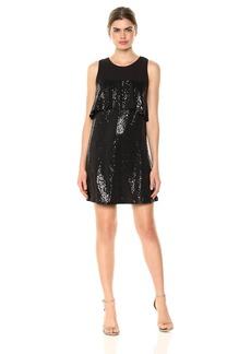 Kensie Women's Sequin Sleeveless Ruffle Dress  M
