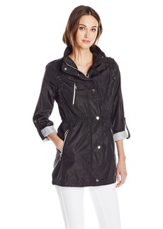 Kensie Women's Sheared Anorak with Contrast Trims  X-Small
