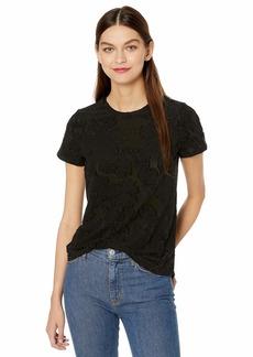 kensie Women's Sheer Jaquard Jersey Tee  XL