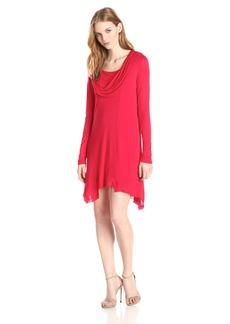 kensie Women's Sheer Viscose Cowl Neck Dress