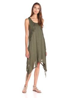 Kensie Women's Sheer Viscose Dress with Fringe