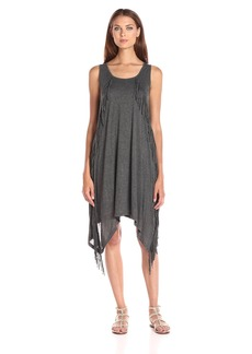 Kensie Women's Sheer Viscose Dress with Fringe