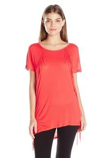 kensie Women's Sheer Viscose Fringe T-Shirt
