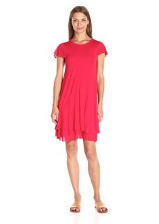 kensie Women's Sheer Viscose Layered Dress red XL