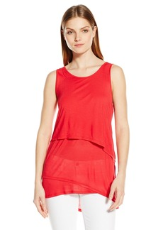 kensie Women's Sheer Viscose Sleeveless Top
